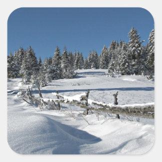 Snowy Winter Scene Square Sticker