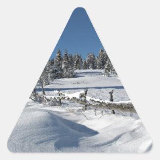 Snowy Winter Scene Triangle Sticker