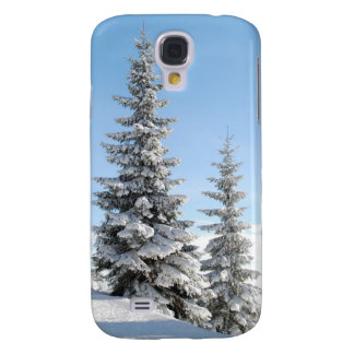 Snowy Winter Scene with Christmas Trees Samsung Galaxy S4 Cover