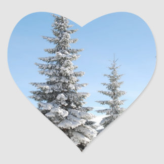 Snowy Winter Scene with Christmas Trees Heart Sticker