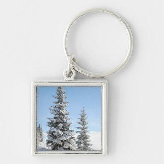 Snowy Winter Scene with Christmas Trees Keychain