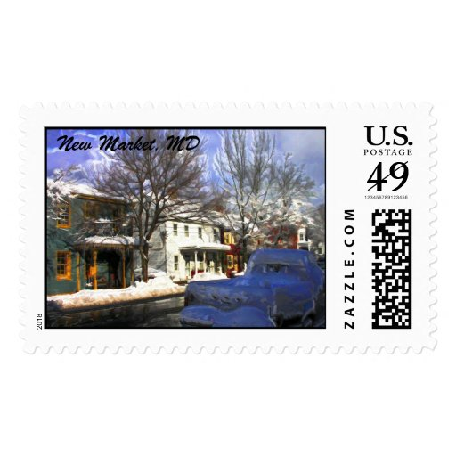 Snowy Winter Scene with Truck, New Market, MD Postage Stamp