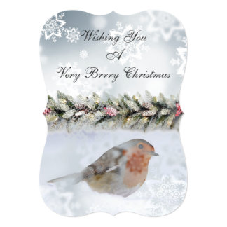 Snowy Winter Snowfinch Christmas Greeting Card