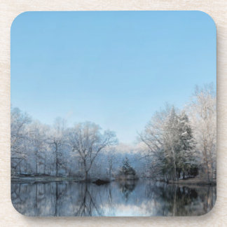 Snowy Winter Tree Lake Reflections Beverage Coaster