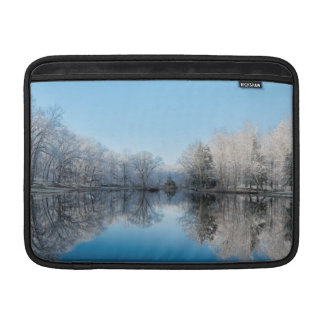 Snowy Winter Tree Lake Reflections MacBook Sleeve
