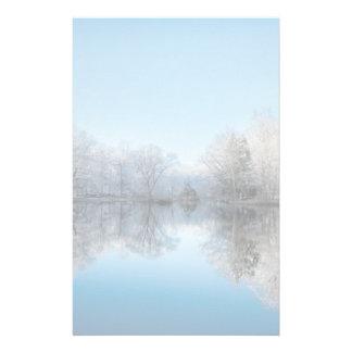 Snowy Winter Tree Lake Reflections Stationery