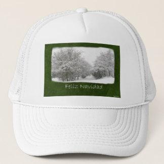 Snowy Winter Trees and Shrubs - Feliz Navidad Trucker Hat