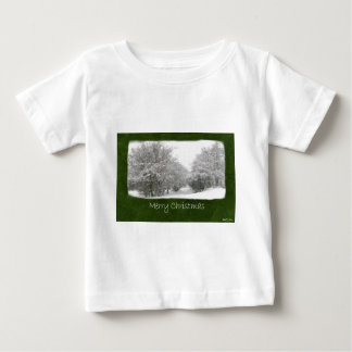 Snowy Winter Trees and Shrubs - Merry Christmas Baby T-Shirt