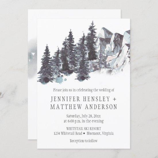 Snowy Winter Trees Mountains Snow Wedding | Invitation