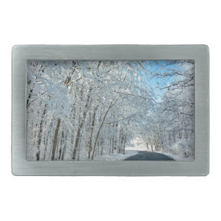 Snowy Winter Trees Rectangular Belt Buckle