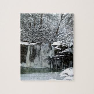 Snowy Winter Waterfall