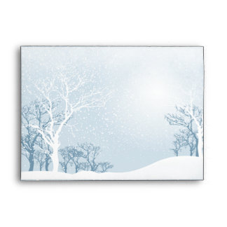 Snowy Winter Wedding - ice blue A7 Envelopes