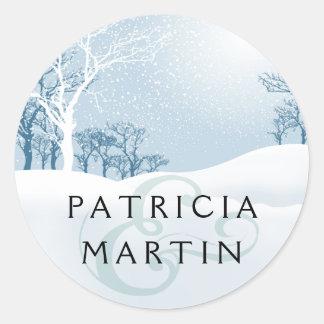 Snowy Winter Wedding - ice blue Classic Round Sticker