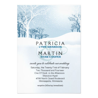 Snowy Winter Wedding - ice blue Announcement