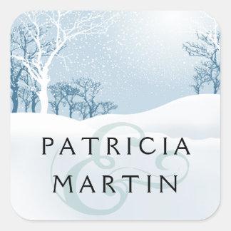 Snowy Winter Wedding - ice blue Square Sticker