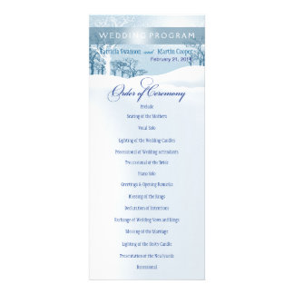 Snowy Winter Wedding Program ice blue Personalized Announcements