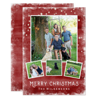 Snowy Winter Wonderland Christmas Photo Collage Card