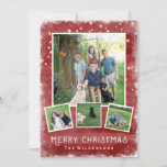 """Snowy Winter Wonderland Christmas Photo Collage Holiday Card<br><div class=""""desc"""">Celebrate the holidays with this festive red winter wonderland Merry Christmas Photo Collage. A snowy border surrounds your 4 photos that are set against a red watercolor/chalkboard background. Add your custom text to the front and backside. With a bit of a rustic/vintage feel to it, the card is also trendy...</div>"""
