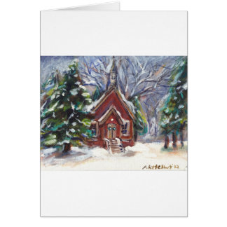 Snowy Wintry country church christmas scene Cards