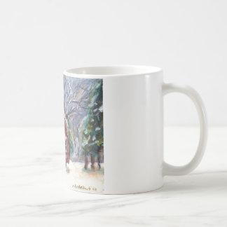 Snowy Wintry country church christmas scene Coffee Mugs