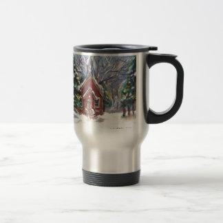 Snowy Wintry country church christmas scene Coffee Mug
