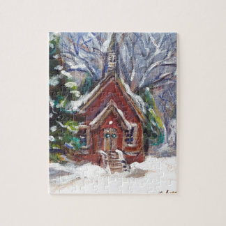 Snowy Wintry country church christmas scene Jigsaw Puzzles