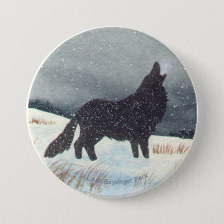 Snowy Wolf Art Pinback Button