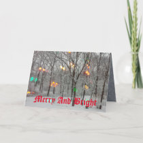Snowy Wooded Scene with Christmas Lights Holiday Card