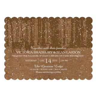 Snowy Woodland and Deers Wedding Custom Invitation