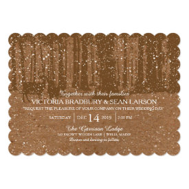 Snowy Woodland and Deers | Wedding 5x7 Paper Invitation Card