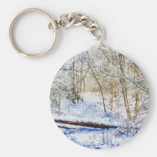 Snowy Woodland Path Keychain
