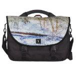 Snowy Woodland Path Laptop Bag