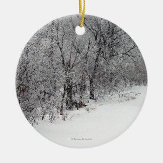 Snowy Woods Round Photo Ornament