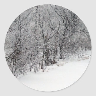 Snowy Woods Small Round Stickers