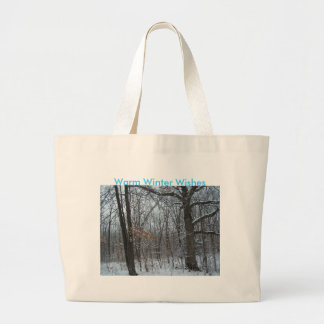 Snowy Woods, Warm Winter Wishes Large Tote Bag