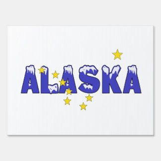 SNOWY WORD ALASKA SIGN