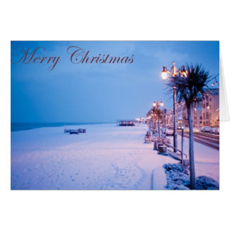 Snowy Worthing Seafront Christmas Card