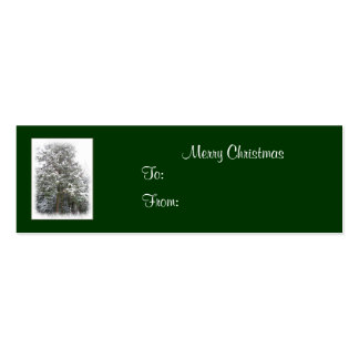 Snowy Xmas Tree, Winter Wonderland Forest Gift Tag Double-Sided Mini Business Cards (Pack Of 20)