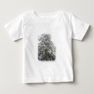 Snowy Xmas Trees in a Winter Wonderland Forest Baby T-Shirt