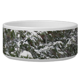 Snowy Xmas Trees in a Winter Wonderland Forest Bowl