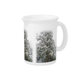 Snowy Xmas Trees in a Winter Wonderland Forest Pitcher