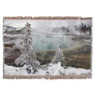 Snowy Yellowstone Throw Blanket