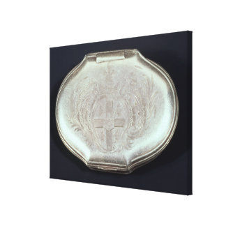 Snuff box embossed with a coat of arms, c.1820 canvas print