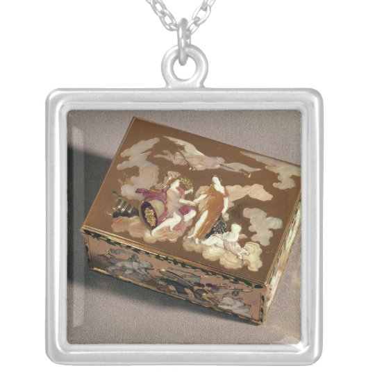 Snuff box silver plated necklace