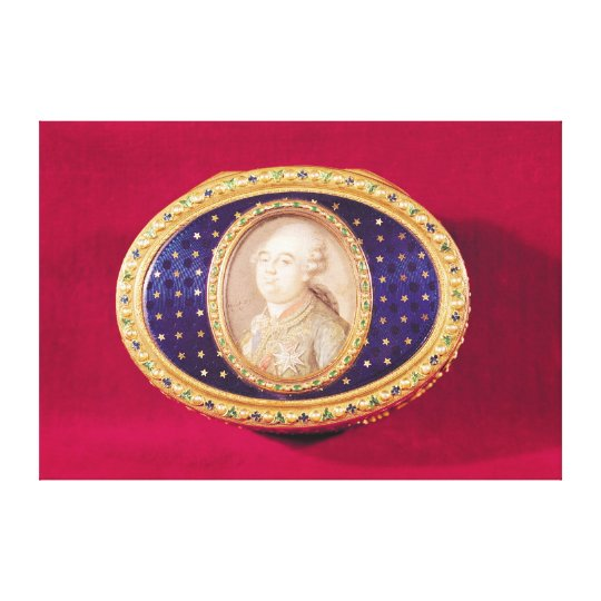 Snuffbox with a portrait miniature of Louis Canvas Print
