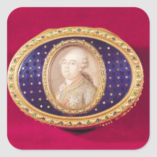 Snuffbox with a portrait miniature of Louis Square Sticker