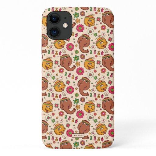 Snuffleupagus and Big Bird Groovy Flower Pattern iPhone 11 Case