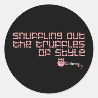 Snuffling hacia fuera las trufas del estilo etiqueta redonda