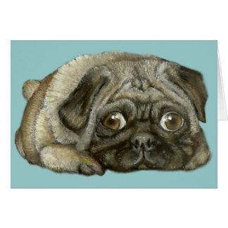 Snug as a pug greeting card