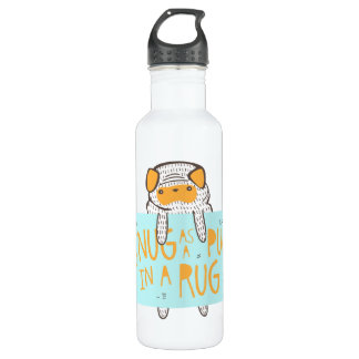 """""""Snug as a Pug in a Rug"""" Water Bottle"""